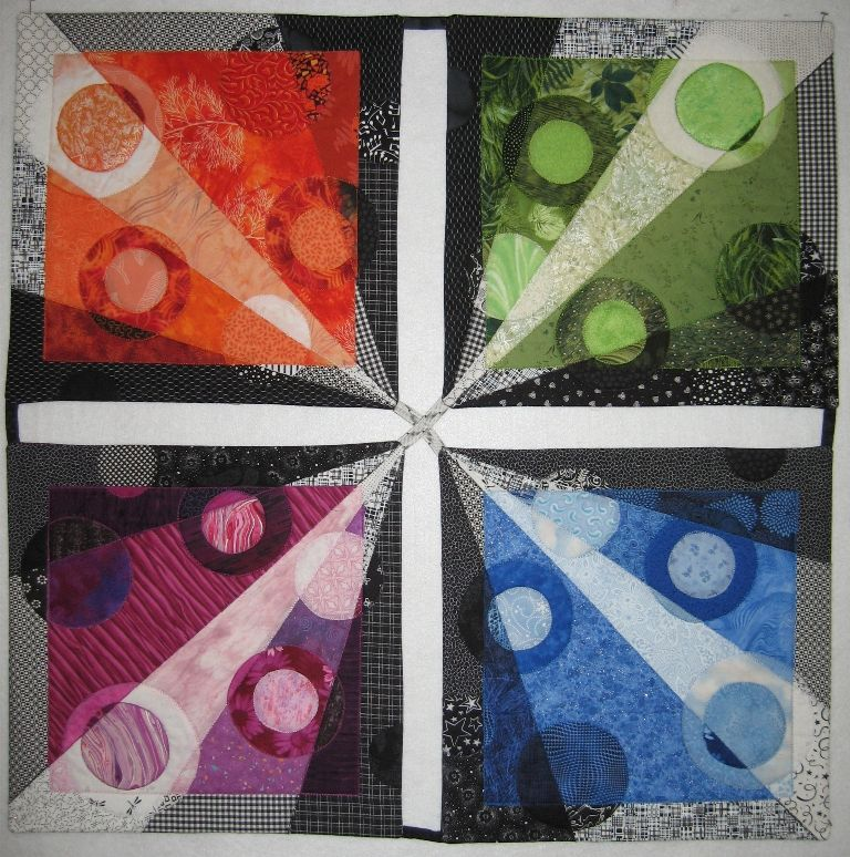 """""""Rays"""" by Lisa Ellis, transparency quilt, subject of workshop"""