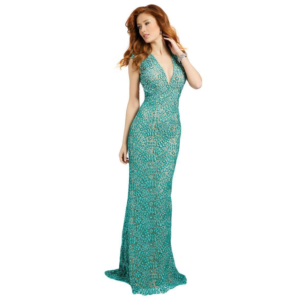 Cool Awesome New JOVANI Teal Green Lace Mesh Formal Prom Pageant ...