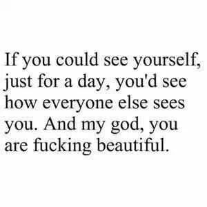 If you could see yourself, just for a day, you'd see how everyone else sees you.  And my god, you are fucking beautiful.