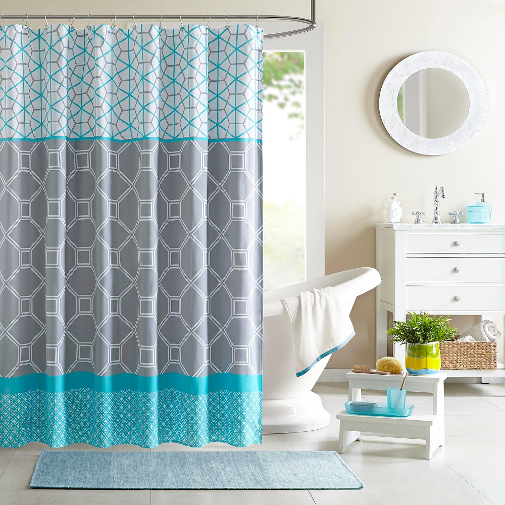 Sarah printed microfiber shower curtain blue shared rooms