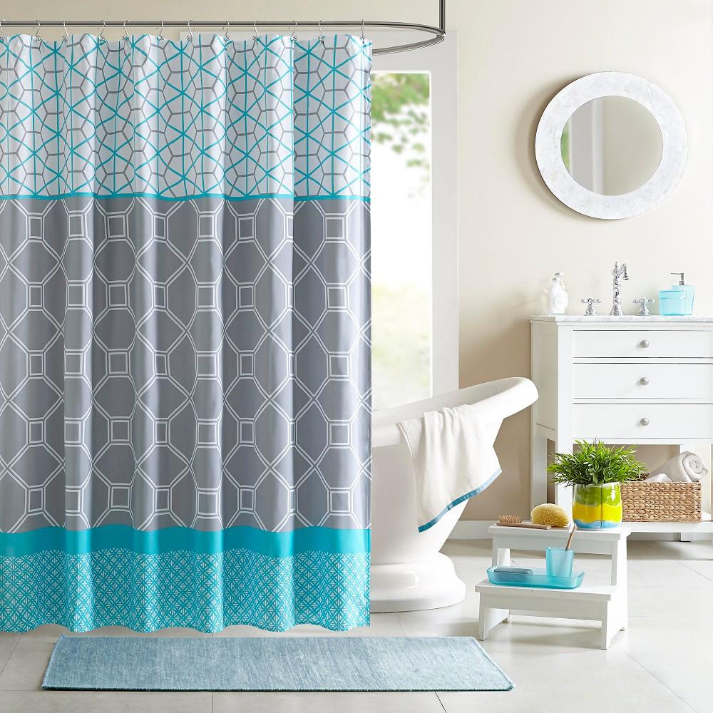 Sarah Printed Microfiber Shower Curtain - Blue | Master bedroom ...