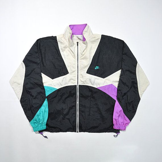 af7801bd86f72 Vintage 80s 90s NIKE Windbreaker Jacket   Retro NIKE Streetwear Old school  Tracker   Multi Color Block Nike Training Running Shell Jacket