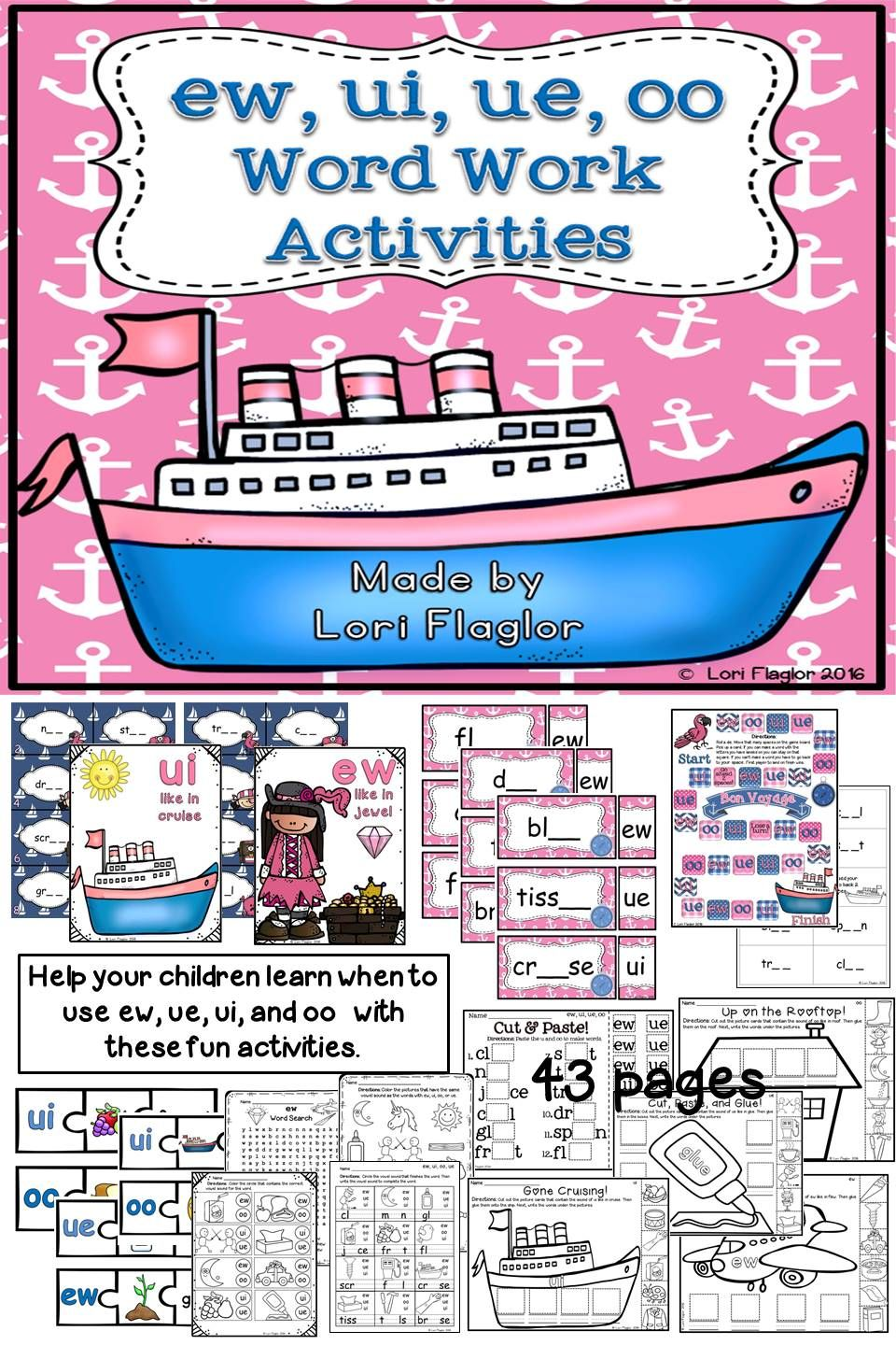 ew, ue, ui,and oo Word Work Activites | My TPT products