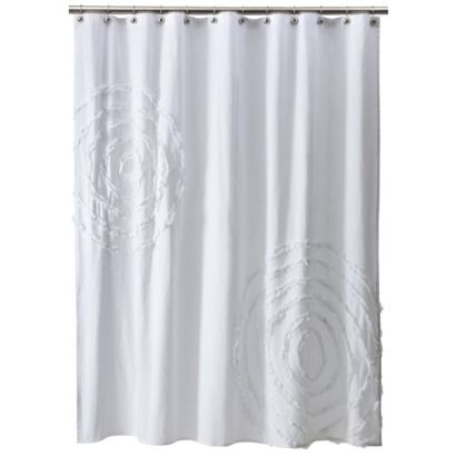 white shower curtain target. Pottery Barn Look-Alikes: PB Teen Ruffle Flower And Rings Shower Curtain White Target E