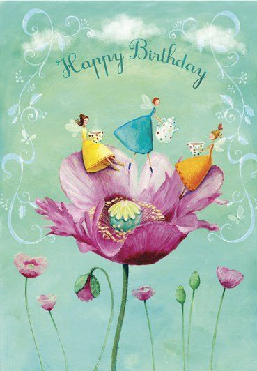 Happy Birthday with girls in poppy artist illustration by www.MilaMarquis.com an