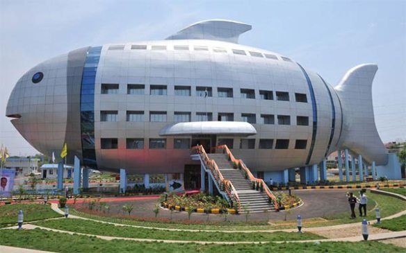 Fish-shaped Building Inaugurated in Hyderabad, India via Mental Flowers: Designed by the National Fisheries Development Board. Image by Noah Seelam. Thanks to @Josh Lam Lam Draper  #Architecture  #Fish_Building