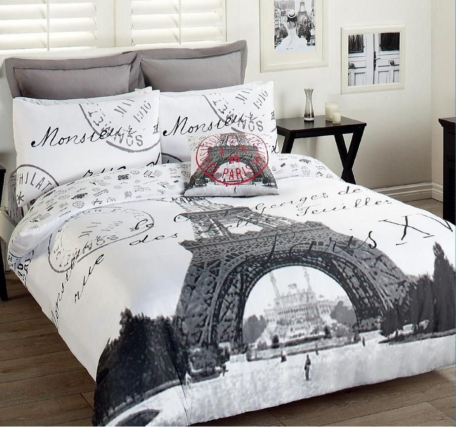 Paris eiffel tower comforter set 3pcs double bed for Bedroom quilt ideas