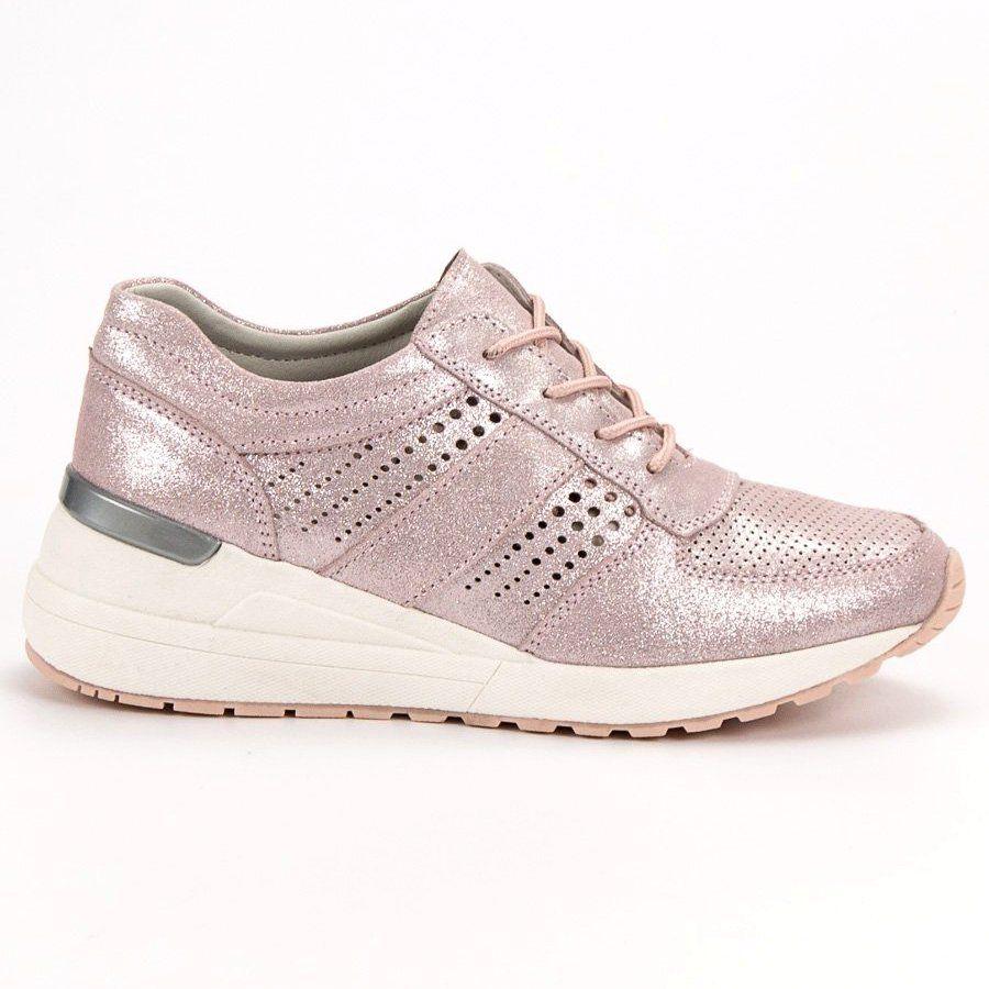 Filippo Skorzane Sneakersy Na Koturnie Rozowe Women Shoes Sneakers Shoes