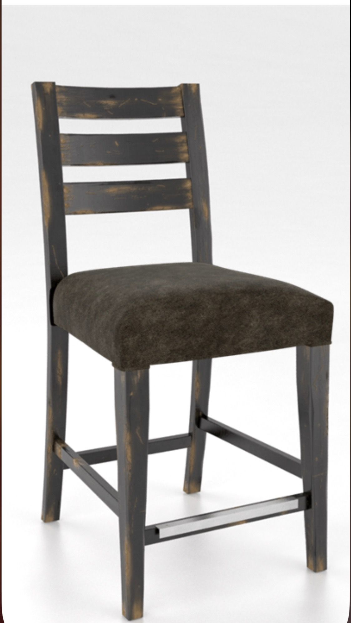 Canadel Stool. Champlain Black 63. Distressed Leather seat ...