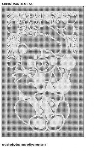 Christmas Bear filet crochet doily tablemat tablecloth pattern 55 ...