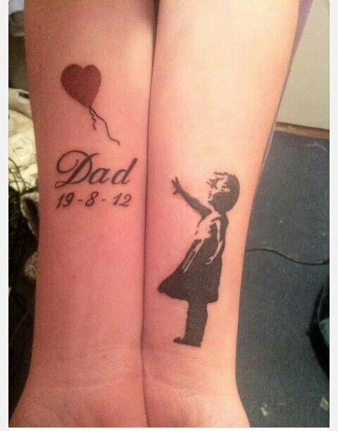 Remembrance Tattoos For Dad: Memorial Dad Tattoo Quote On Arm, Heart Tattoo