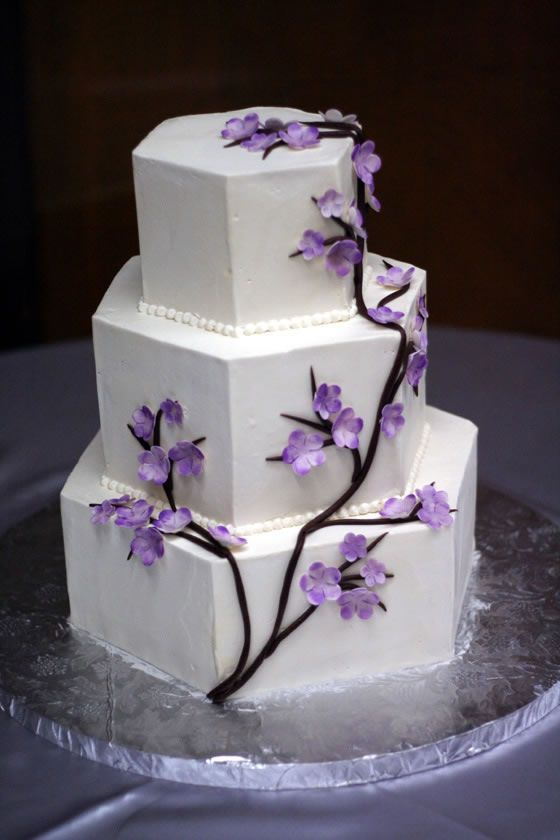 Awesome Personalized Wedding Cake Toppers Tall Cheap Wedding Cakes Round Square Wedding Cakes 5 Tier Wedding Cake Young Best Wedding Cake Recipe GreenWedding Cake Cutter A Hexagon Cake With A Purple Cherry Blossom Design; Our Wedding ..