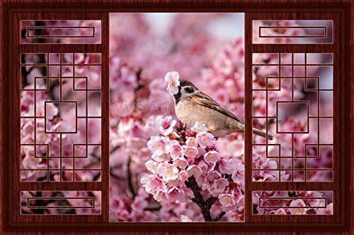 D Window Decal Wall Sticker Home Decor Bird On Cherry Blossom - Bird window stickers amazon
