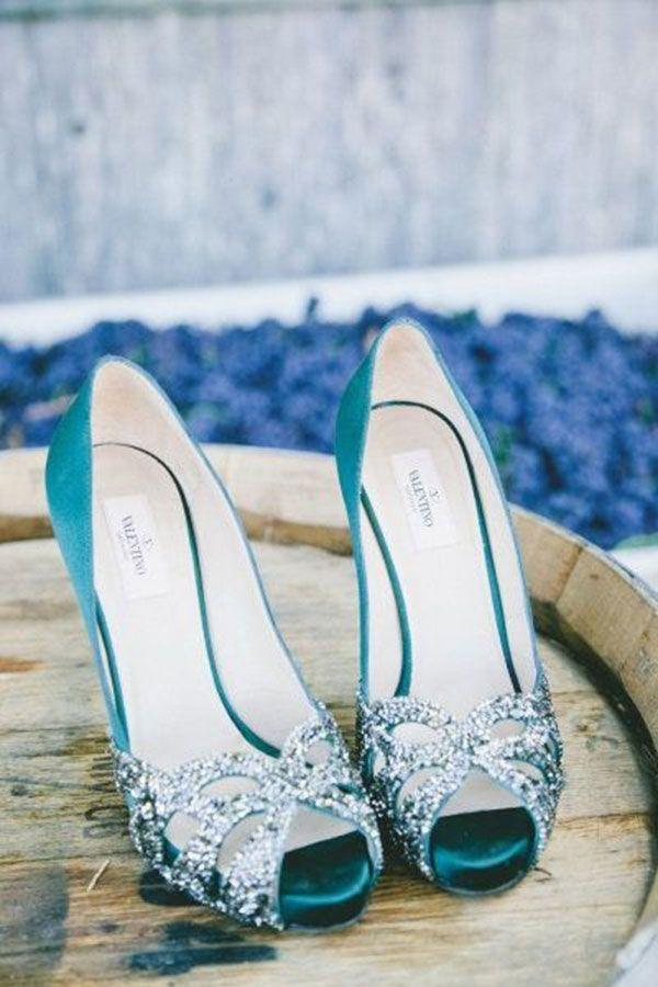 reputable site d0721 07f56 Valentino turquoise blue peep-toe heels   The Wedding Scoop Spotlight   Bridal Shoes - Part 1