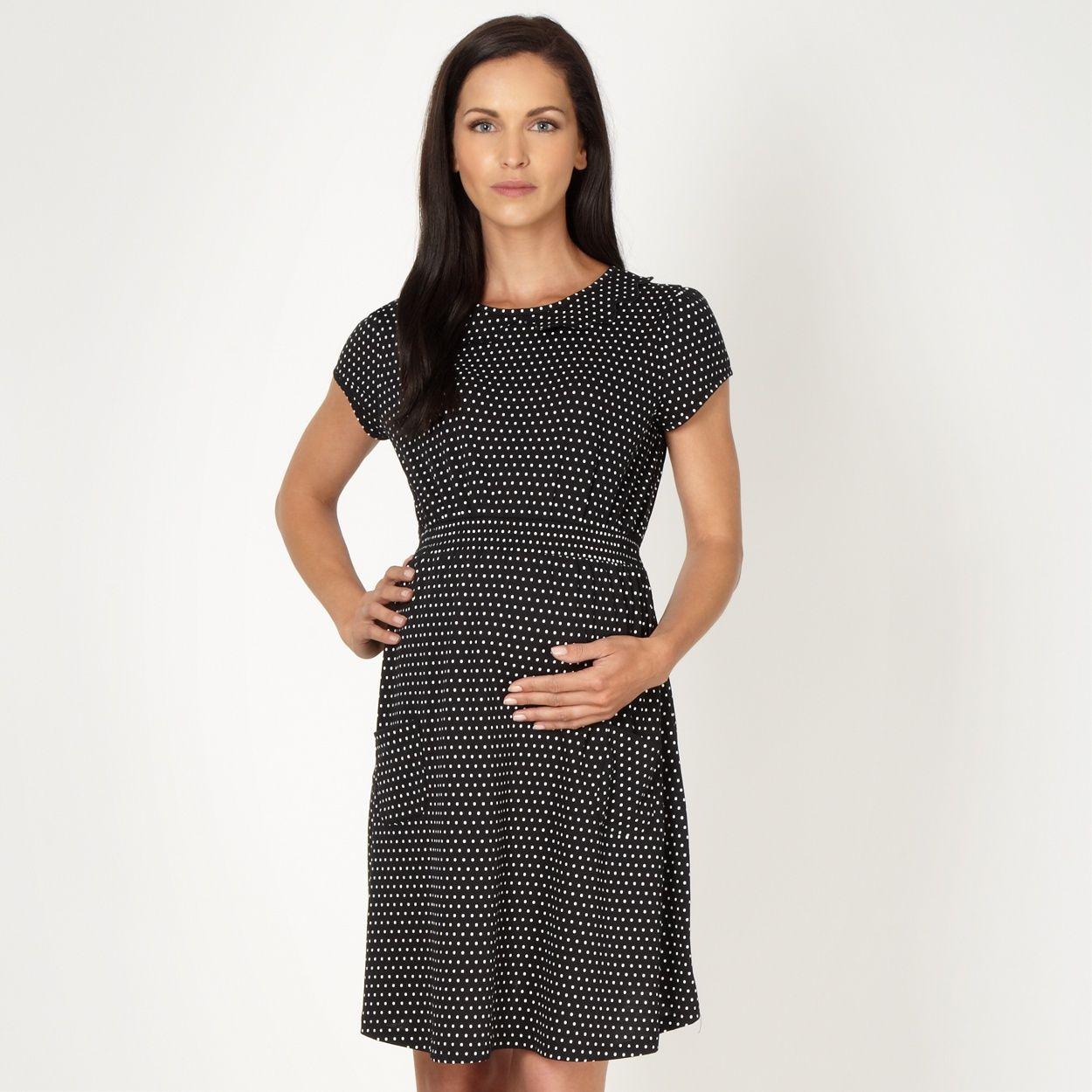 41704d117b1f4 Red Herring Maternity black polka dot jersey maternity dress- at Debenhams .com
