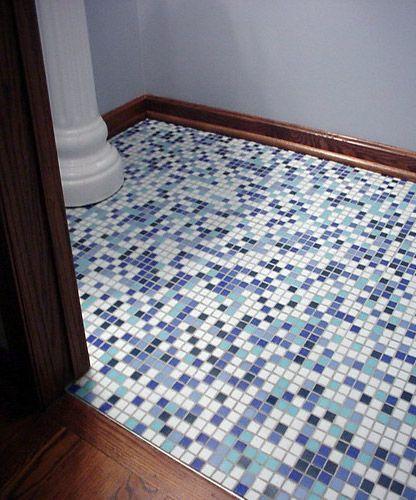 Residential Bathroom Floor Photo   Kaleidoscope Colorways Jazz Blend Glass Mosaic  Tiles