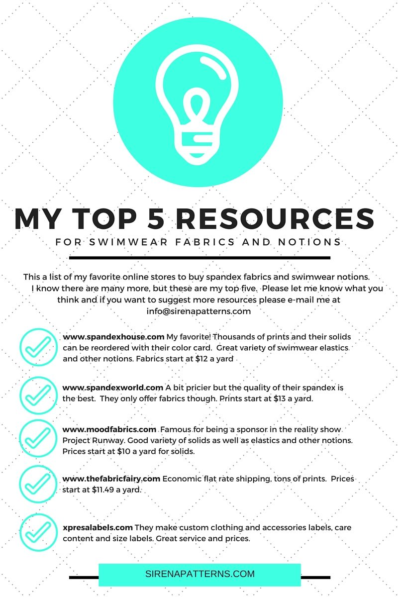 My Top 5 Resources for Swimwear Fabrics and Notions