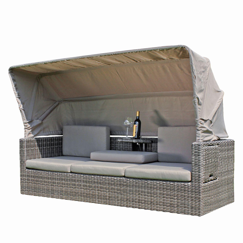 Balkonmöbel lounge-sofa  Loungesofa Palma - Polyrattan / Webstoff - Grau, Garden Pleasure ...