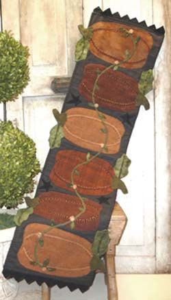 Pumpkin Harvest Table Runner Wool Applique Pattern By RoosterCreek, $8.50
