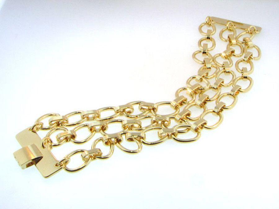 Triple Strand Gold Fold Over Bracelet