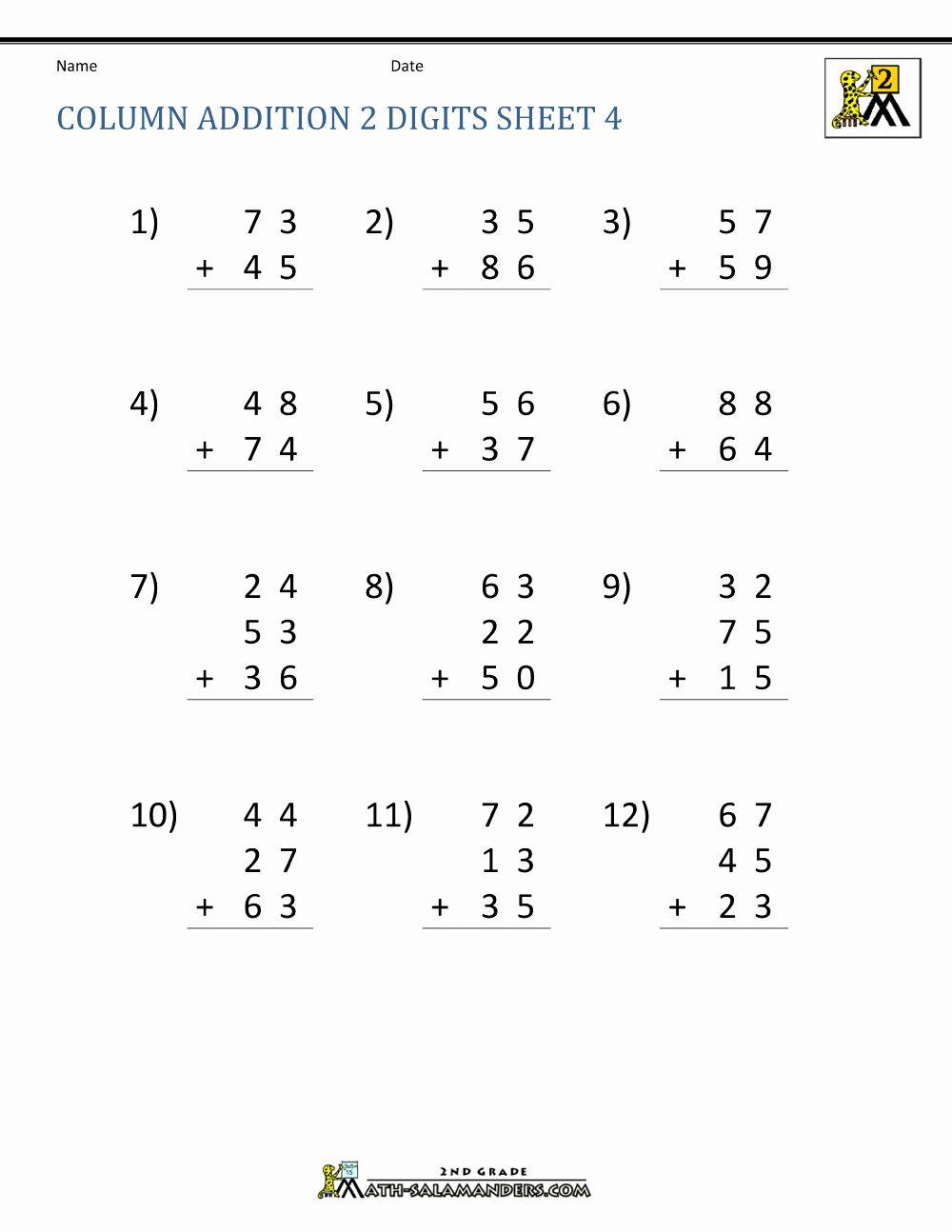 Worksheets Column Addition 4 Digit Numbers Addition Worksheets First Grade Addition Worksheets Column Addition Digit column addition without