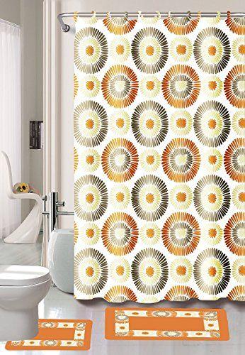 15piece Skylar Bathroom Set Bath Rugs Shower Curtain Rings Orange