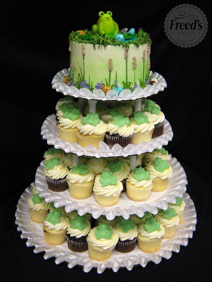 Frog Pond Cupcake Tower #ribbit #cupcakeinspiration