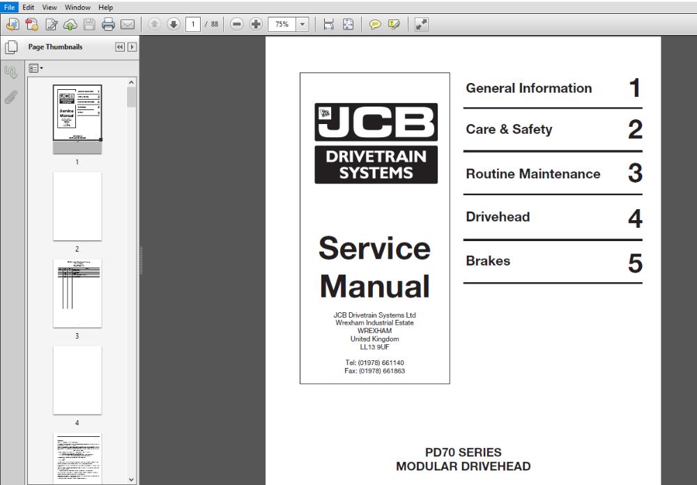 Jcb Pd70 Series Modular Drivehead Service Repair Manual Pdf Download Repair Manuals Manual Modular