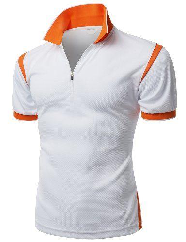 Mens Coolmax Collar 2 Tone Sporty Feel Functional Leisure Polo Tees ...