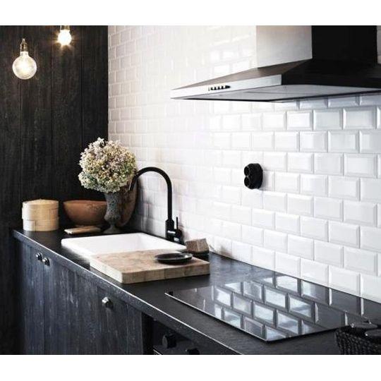 10x20cm Metro White Bevelled Brick Tile By Fabresa Tiles