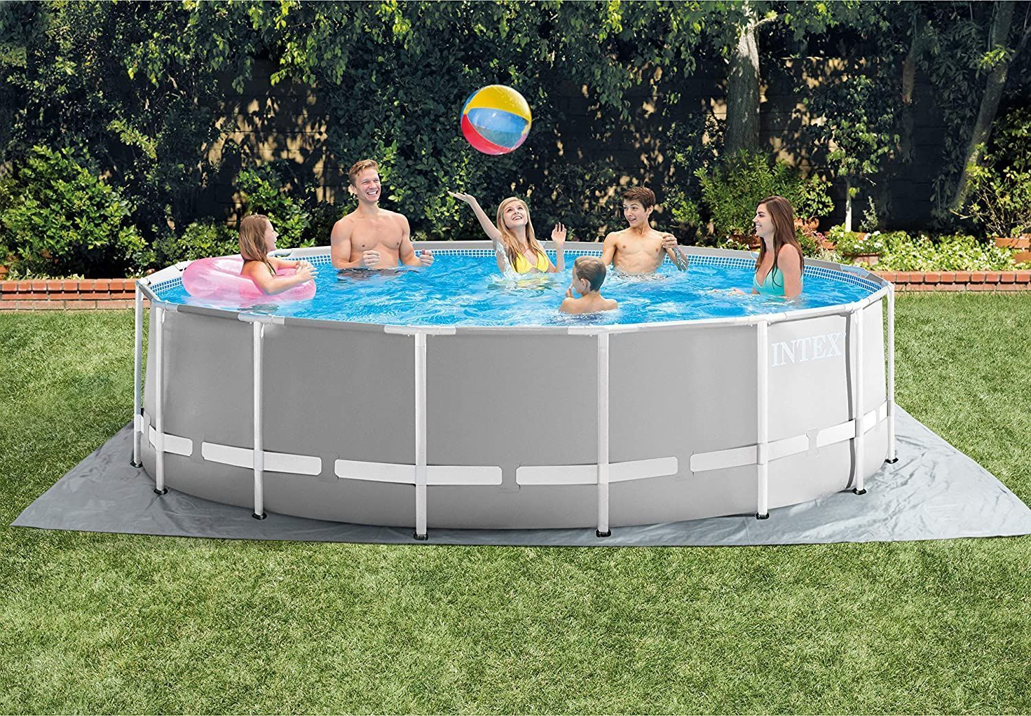 Intex 26725eh Prism Frame Set Above Ground Pool 15ft X 48in Gray Garden Outdoor Ad Above Ground Pool In Ground Pools Pool