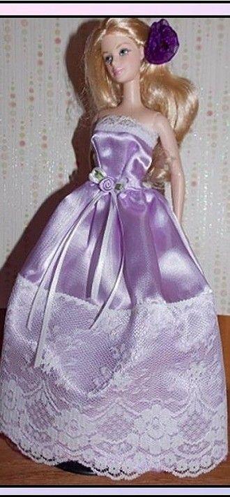 BArbie DOll in Purple Satin gown
