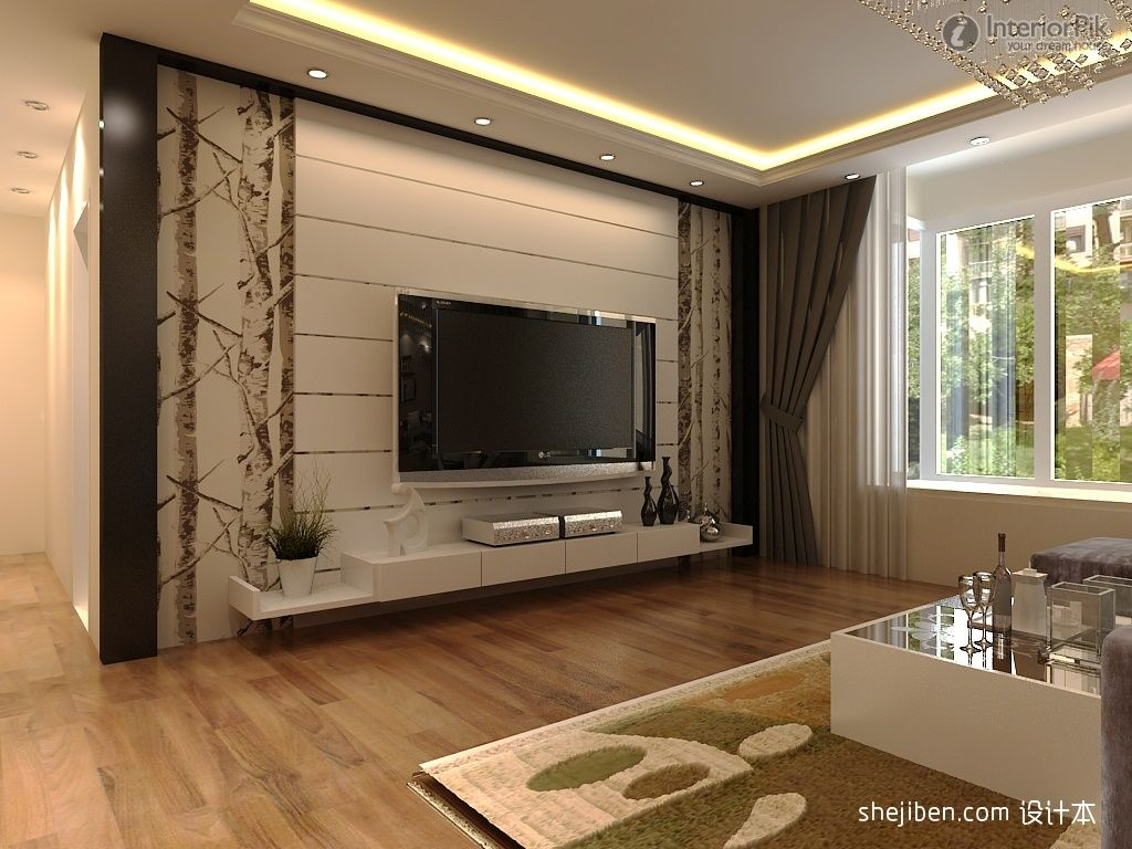 modern rendering of tv background wall decoration. Black Bedroom Furniture Sets. Home Design Ideas