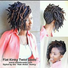 Flat Kinky Twist Updo #natural #hair #style #braids   Projects to ...