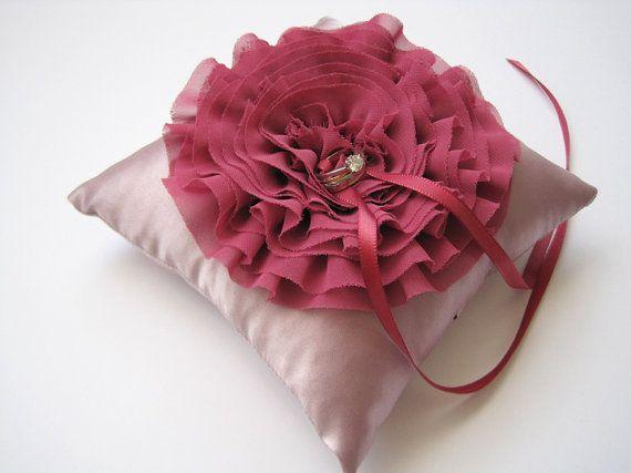 Wedding Ring Pillow Ruffled Chiffon Blossom in by MyThreeAunts, $36.95