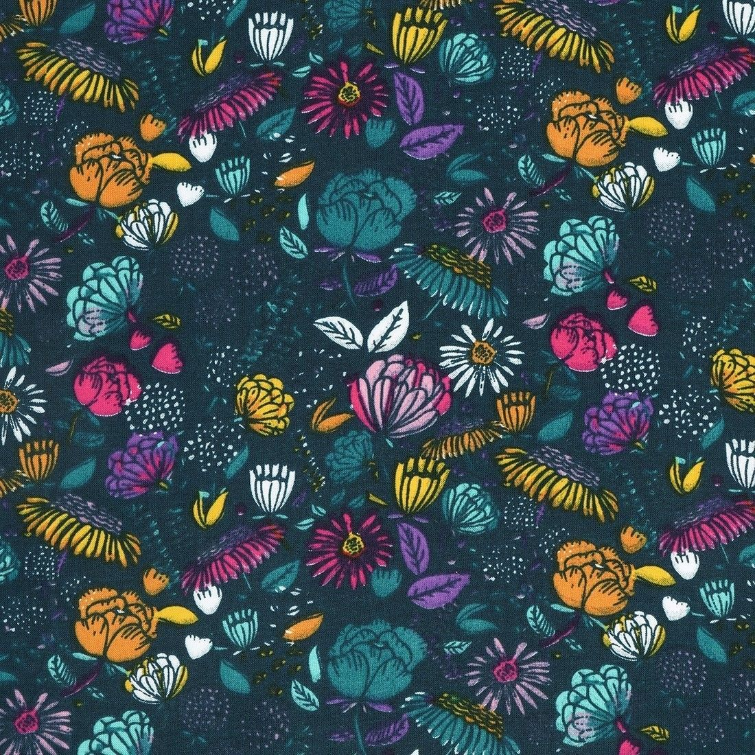 Tissu Popeline De Viscose Vert A Fleurs Mondial Tissus Fleur Multicolore Fleurs Tissu
