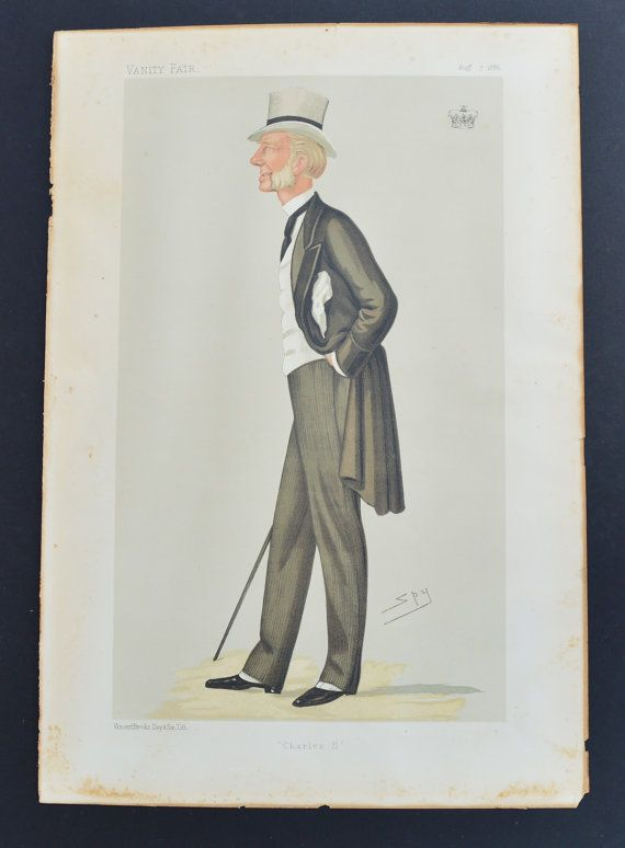1880s Lithograph Caricature of Charles II Major General The Duke of Grafton Vanity Fair Victorian Society Sir Leslie Ward Spy by FillyGumbo
