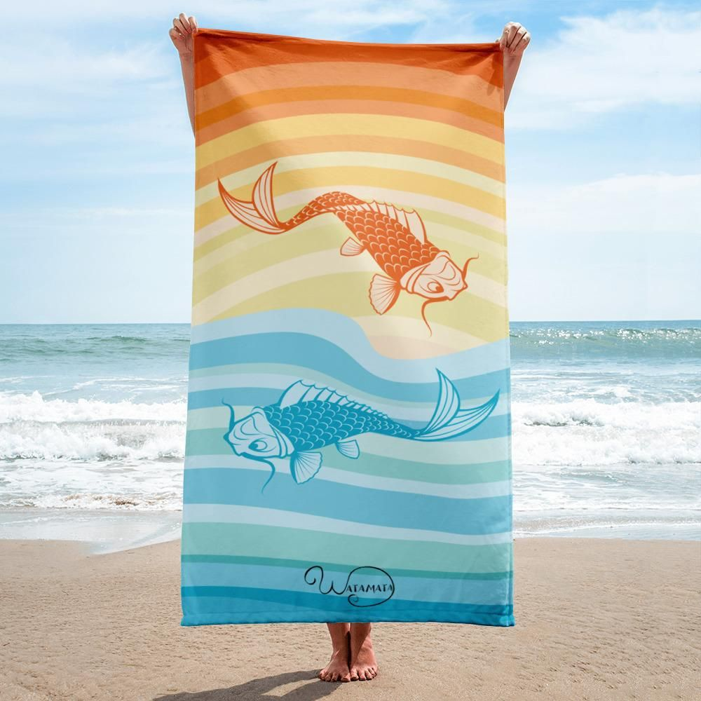 Beach Towel Koi Fishes On Vintage Sun And Water Stripes Beach Towel Sun Water Beach