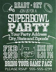 Super Bowl Invitation Chalkboard Super bowl Invitation and