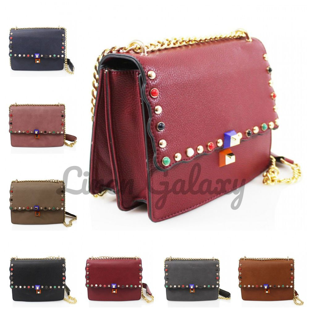8c544e8f1d041 Latest Box Shaped Studded Fashion Women Ladies Cross Body Shoulder Fancy  Bags  LinenGalaxy  CrossBodyBag