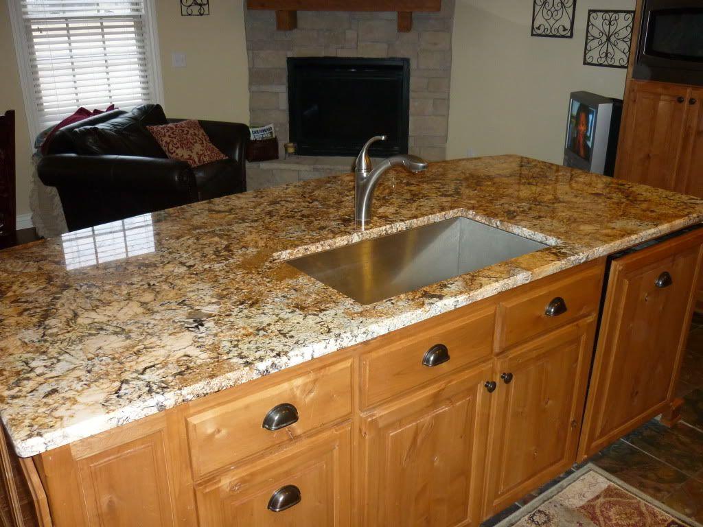 Ivory Fantasy Granite Countertops With Cabinets Honey Oak