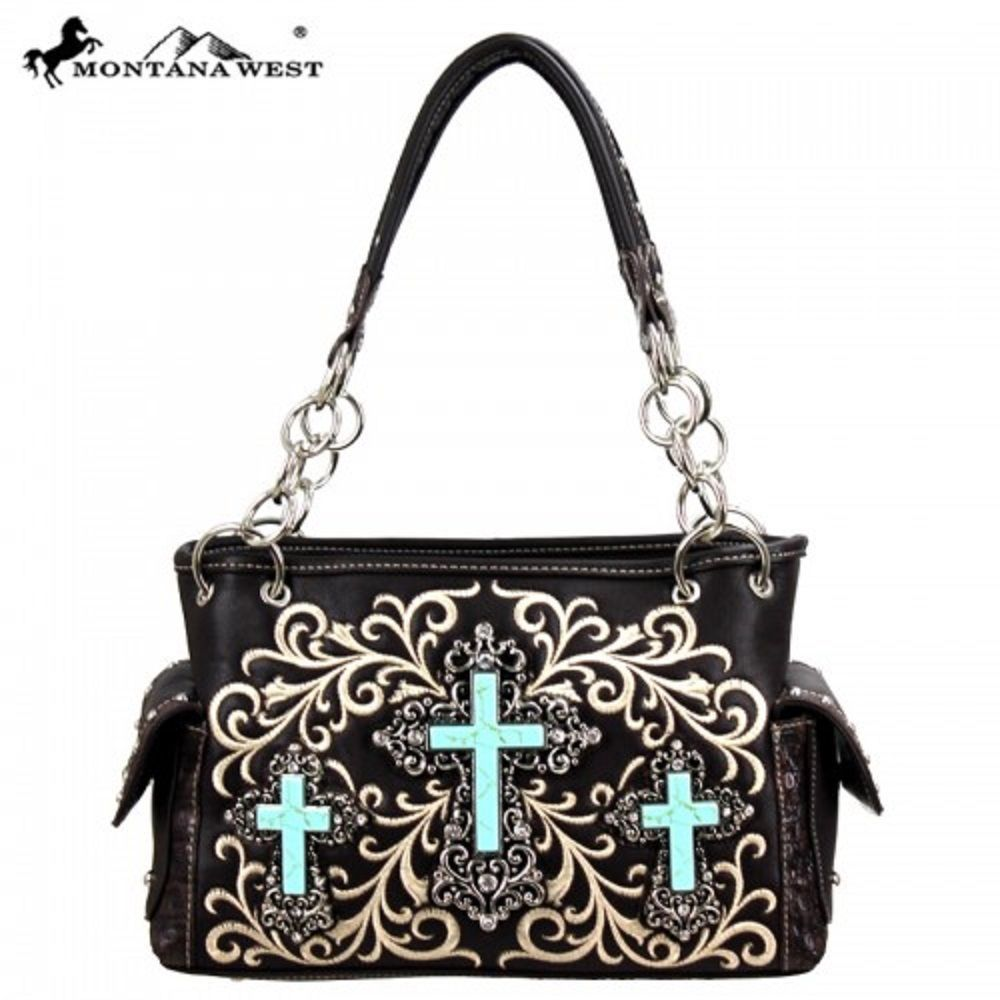 Western Spiritual Collection Handbag purse  Brown, Cross #MontanaWest #ShoulderBag