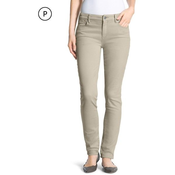 Chico's Petite Platinum Jeggings (€80) ❤ liked on Polyvore featuring pants, leggings, feather tan, petite, brown pants, petite denim leggings, zipper pants, tan jeggings and brown jeggings