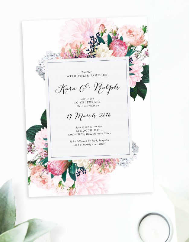 Native Floral Wedding Invitations Sail and Swan Wedding - wedding invitation samples australia