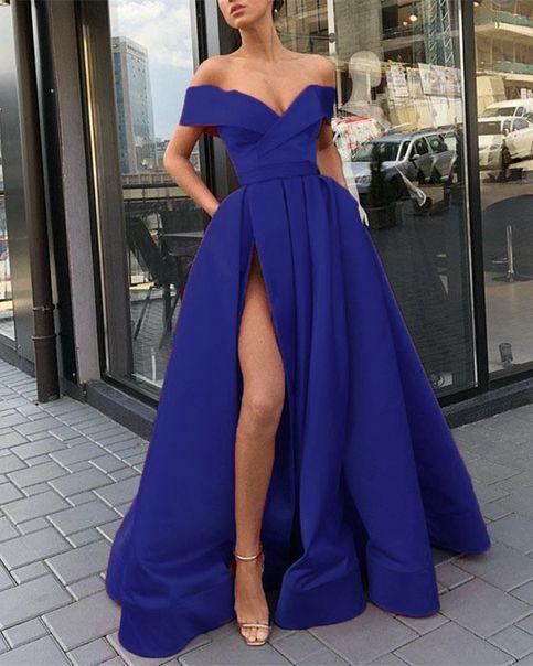 Royal blue off the shoulder slit long prom dress #promdresses