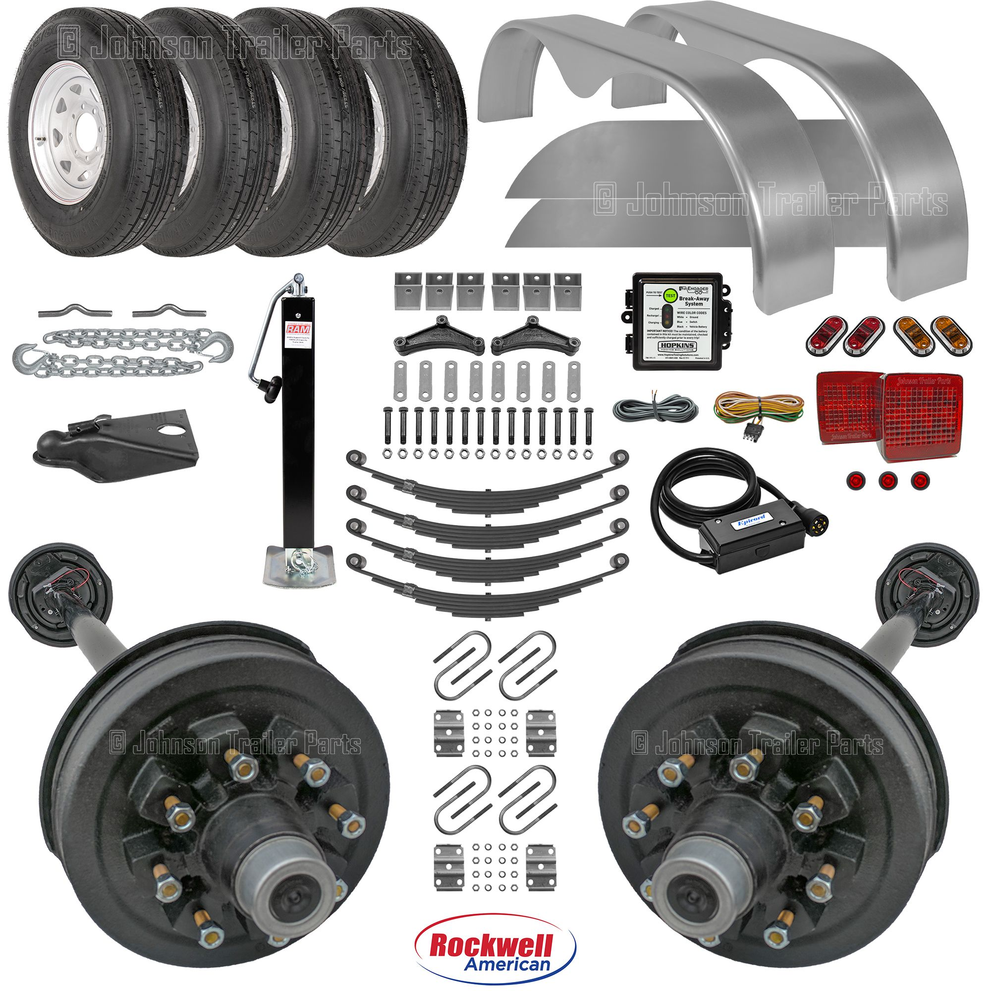 Tandem Axle Trailer Parts Kit W   Double Eye Springs