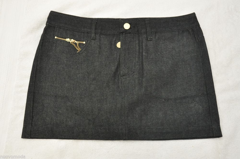 Womens LUELLA Black Cotton Denim Mini Skirt Size 10 Made in UK #Fashion #Style #Deal