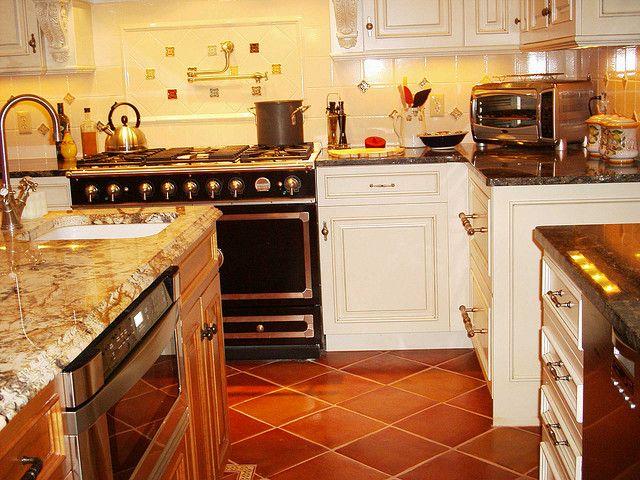 Saltillo Tile Kitchen With White Cabinets Kitchen Reno