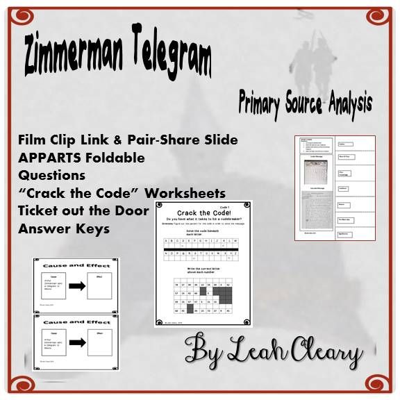 Zimmerman Telegram Primary Source Lesson | Fun worksheets, Primary ...