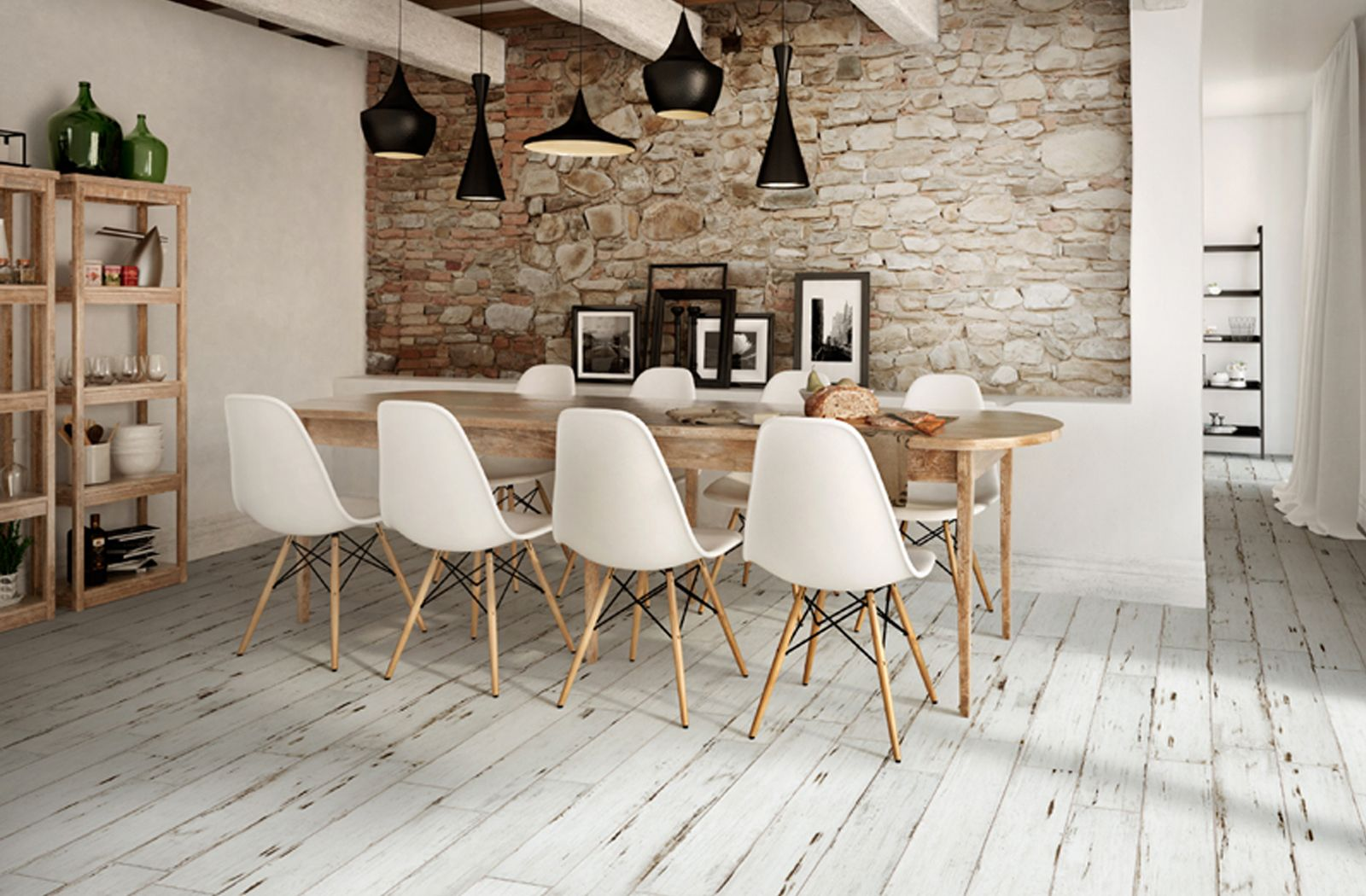Modern country rustic vibe at dining space with Painted ...